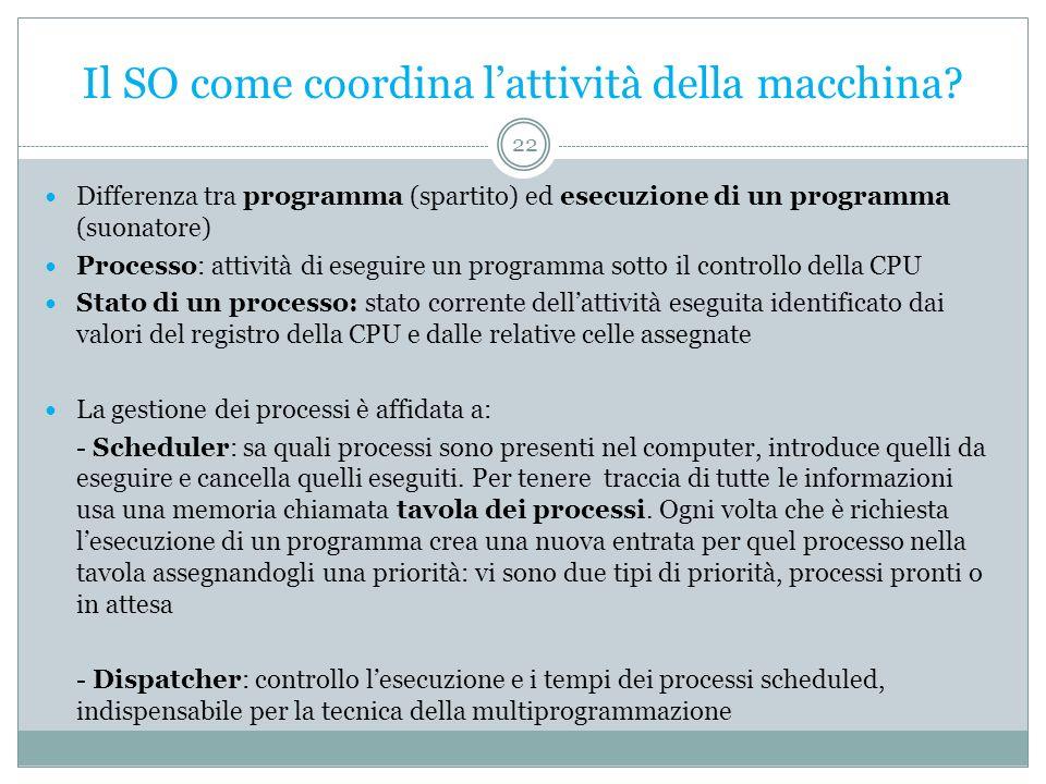 Il SO come coordina lattività della macchina? Differenza tra programma (spartito) ed esecuzione di un programma (suonatore) Processo: attività di eseg