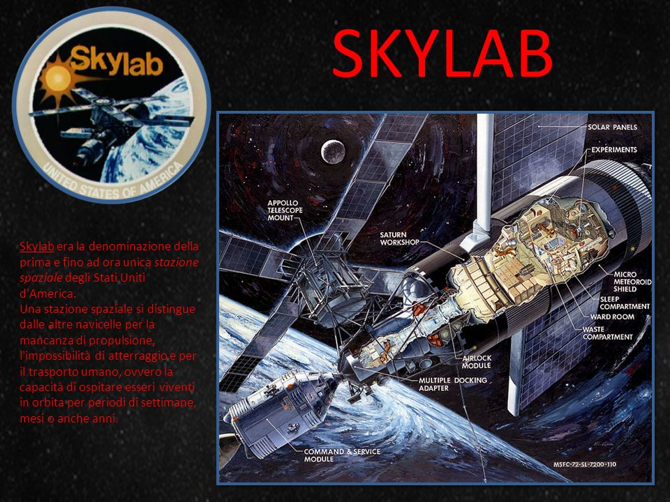 SKYLAB Skylab era la denominazione della prima e fino ad ora unica stazione spaziale degli Stati Uniti d'America. Una stazione spaziale si distingue d
