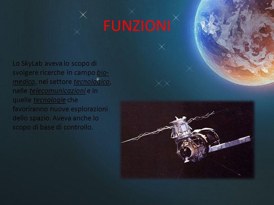 FUNZIONI Lo SkyLab aveva lo scopo di svolgere ricerche in campo bio- medico, nel settore tecnologico, nelle telecomunicazioni e in quelle tecnologie c