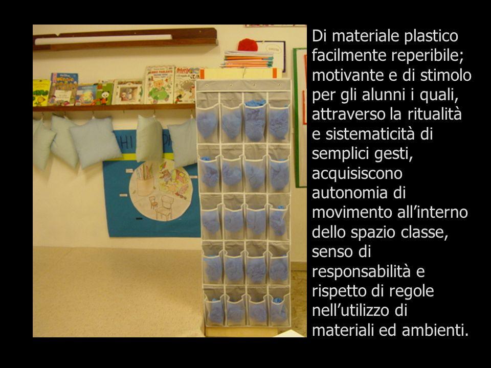 Di materiale plastico facilmente reperibile; motivante e di stimolo per gli alunni i quali, attraverso la ritualità e sistematicità di semplici gesti,