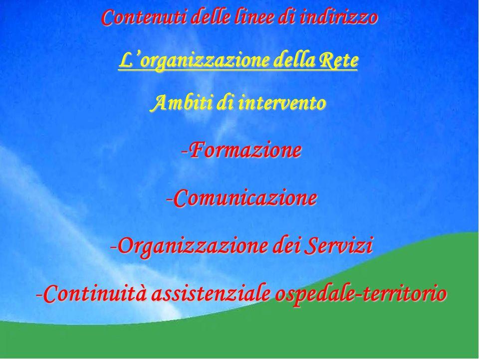 -Formazione -Comunicazione -Organizzazione dei Servizi -Continuità assistenziale ospedale-territorio Contenuti delle linee di indirizzo Lorganizzazione della Rete Ambiti di intervento
