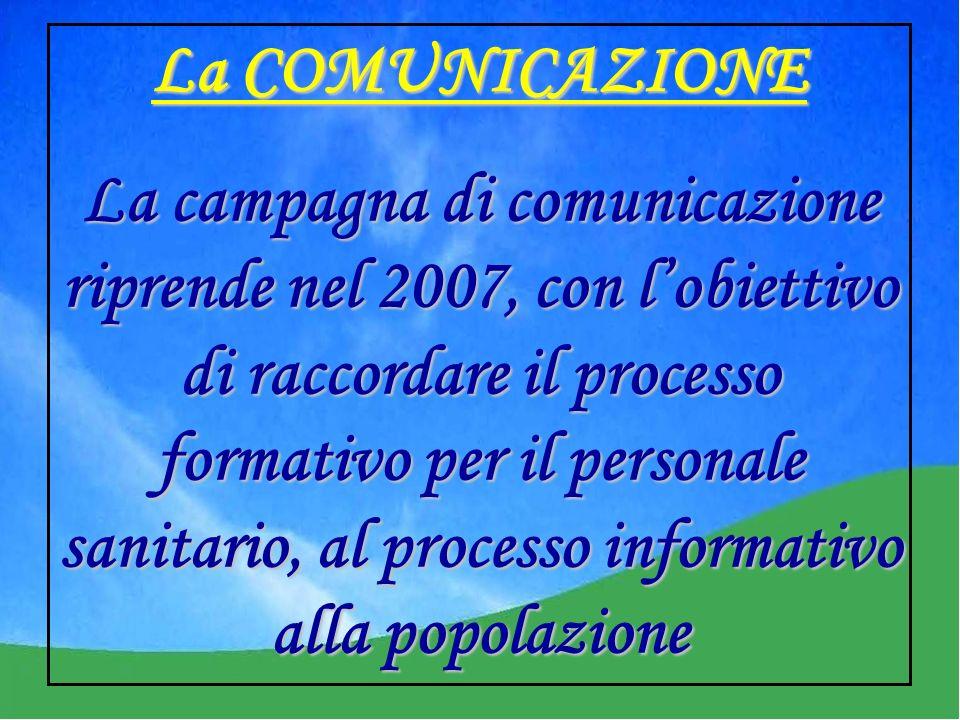 La COMUNICAZIONE La campagna di comunicazione riprende nel 2007, con lobiettivo di raccordare il processo formativo per il personale sanitario, al processo informativo alla popolazione