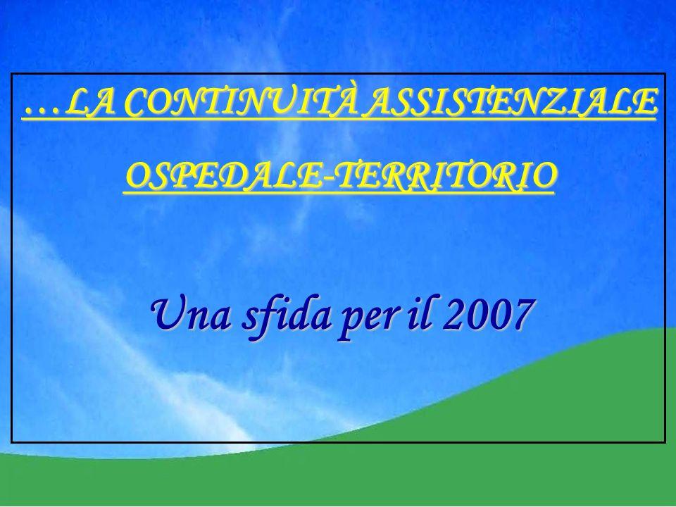 …LA CONTINUITÀ ASSISTENZIALE OSPEDALE-TERRITORIO Una sfida per il 2007