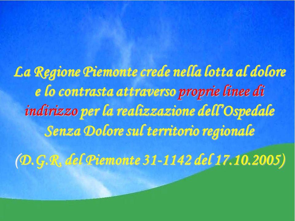 La Regione Piemonte crede nella lotta al dolore e lo contrasta attraverso proprie linee di indirizzo per la realizzazione dellOspedale Senza Dolore sul territorio regionale (D.G.R.