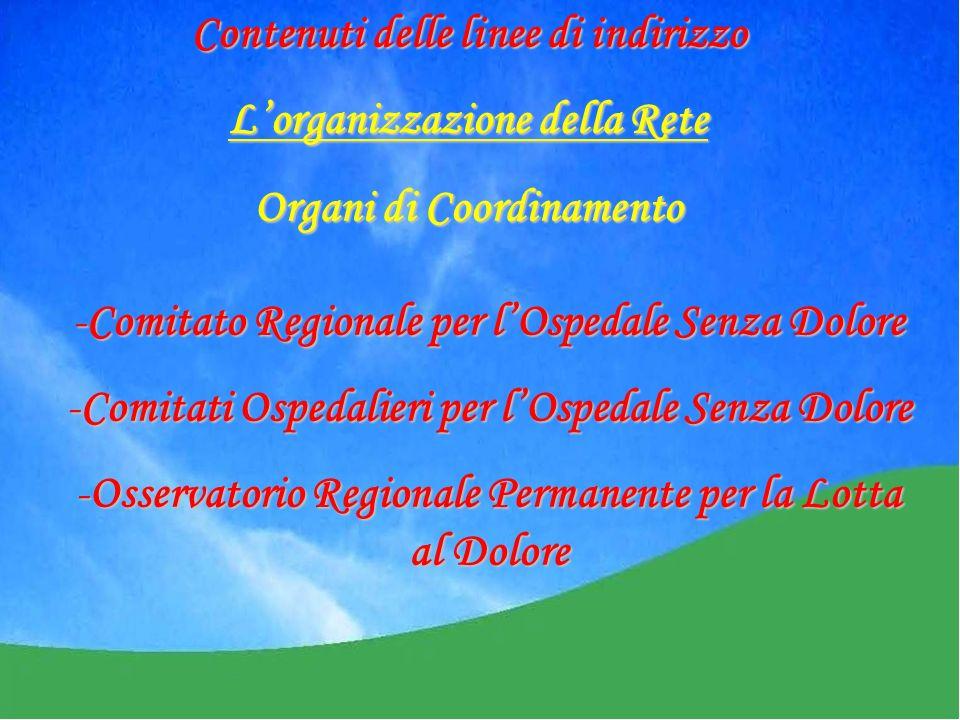 -Comitato Regionale per lOspedale Senza Dolore -Comitati Ospedalieri per lOspedale Senza Dolore -Osservatorio Regionale Permanente per la Lotta al Dolore Contenuti delle linee di indirizzo Lorganizzazione della Rete Organi di Coordinamento