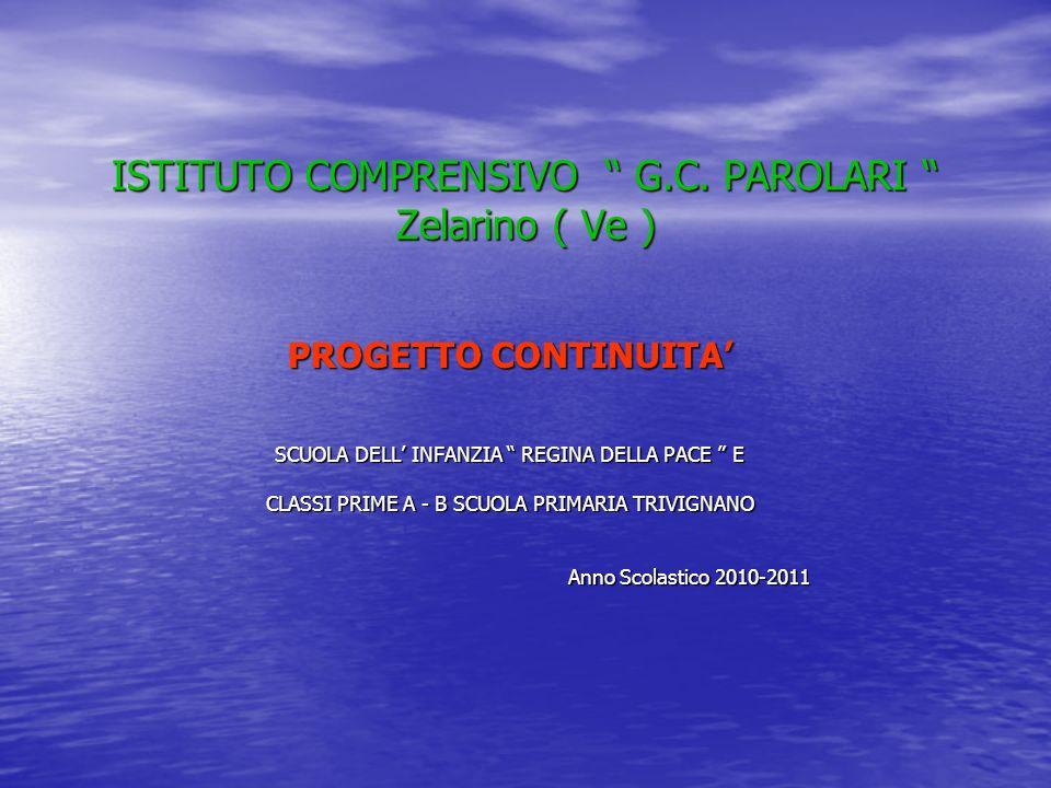 ISTITUTO COMPRENSIVO G.C. PAROLARI Zelarino ( Ve ) PROGETTO CONTINUITA SCUOLA DELL INFANZIA REGINA DELLA PACE E CLASSI PRIME A - B SCUOLA PRIMARIA TRI