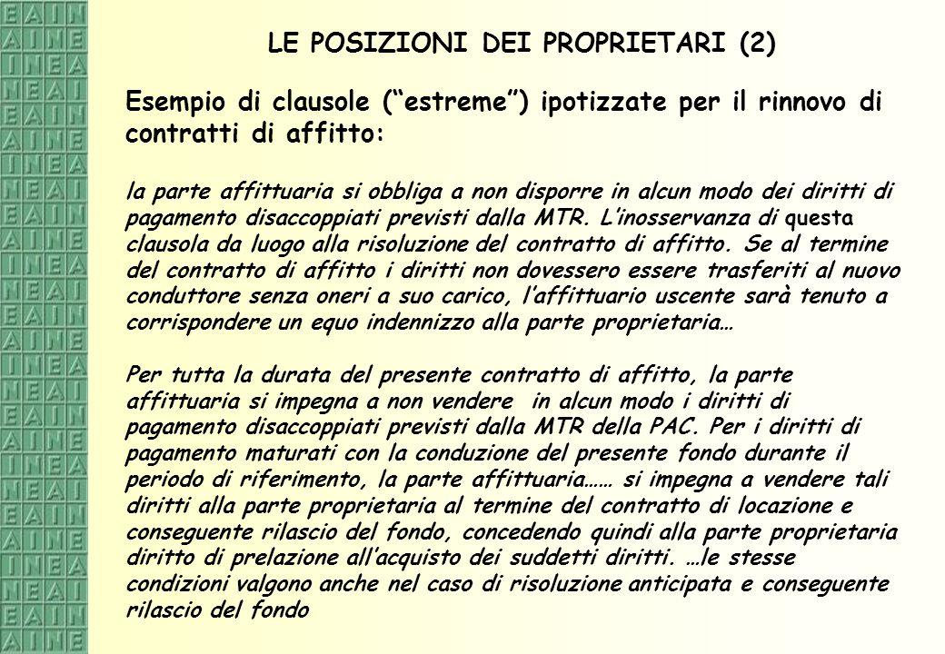 LE POSIZIONI DEI PROPRIETARI (2) Esempio di clausole (estreme) ipotizzate per il rinnovo di contratti di affitto: la parte affittuaria si obbliga a no