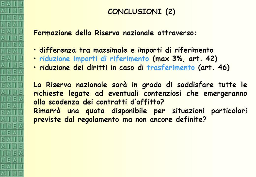CONCLUSIONI (2) Formazione della Riserva nazionale attraverso: differenza tra massimale e importi di riferimento riduzione importi di riferimento (max