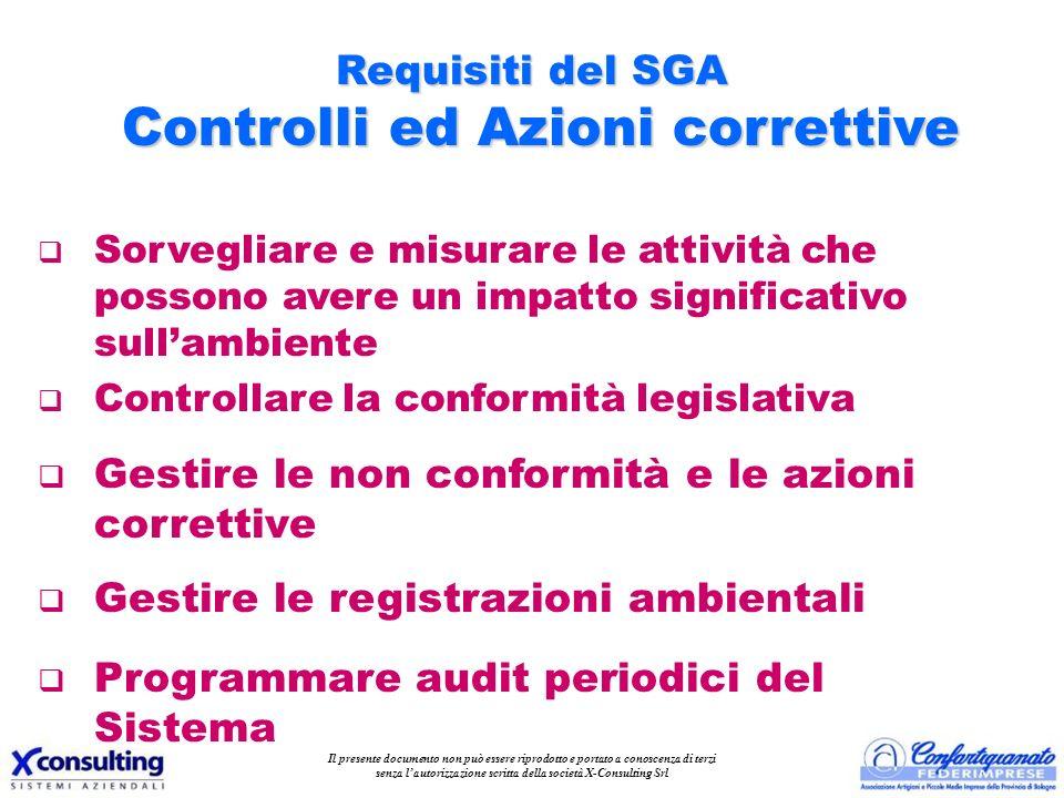 Requisiti del SGA Controlli ed Azioni correttive q Sorvegliare e misurare le attività che possono avere un impatto significativo sullambiente q Contro