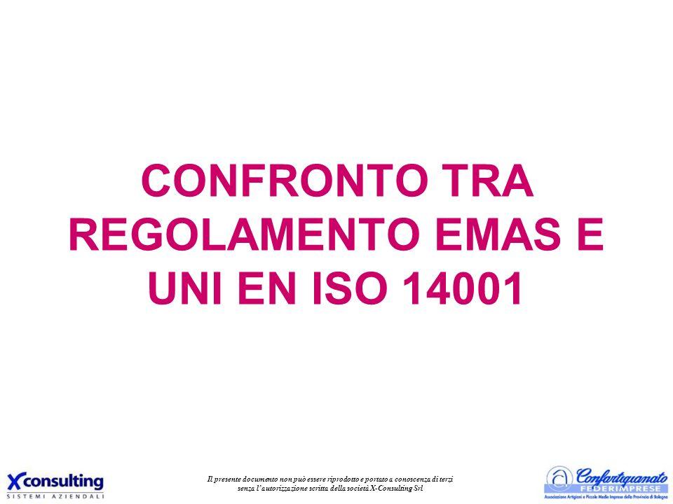 CONFRONTO TRA REGOLAMENTO EMAS E UNI EN ISO 14001 Il presente documento non può essere riprodotto e portato a conoscenza di terzi senza lautorizzazion
