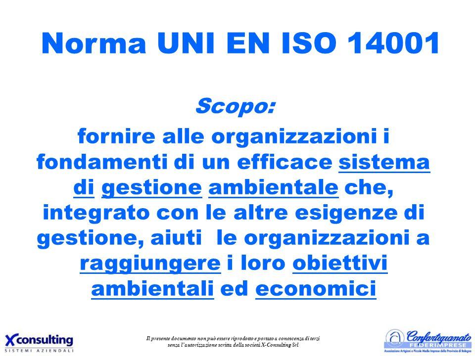 Scopo: fornire alle organizzazioni i fondamenti di un efficace sistema di gestione ambientale che, integrato con le altre esigenze di gestione, aiuti