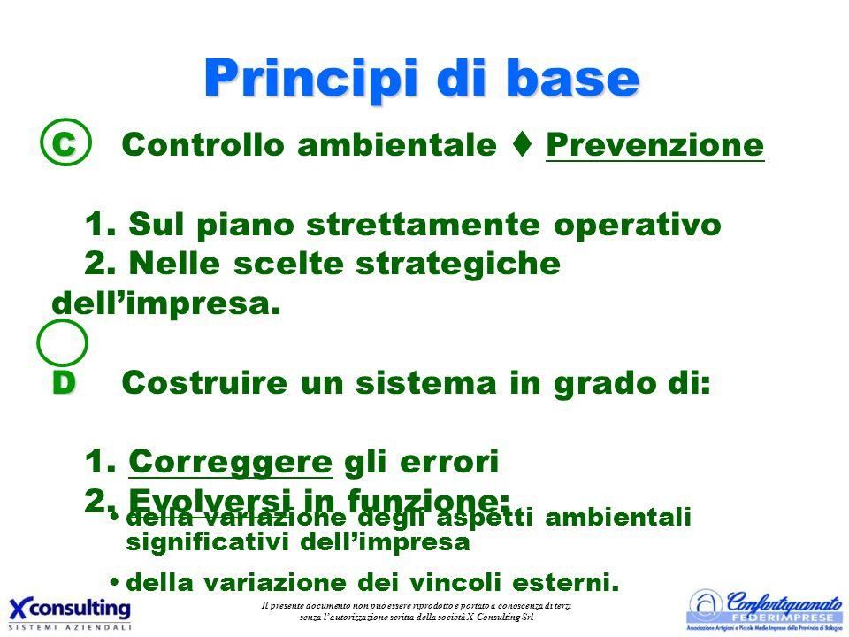 C C Controllo ambientale Prevenzione 1. Sul piano strettamente operativo 2. Nelle scelte strategiche dellimpresa. D D Costruire un sistema in grado di