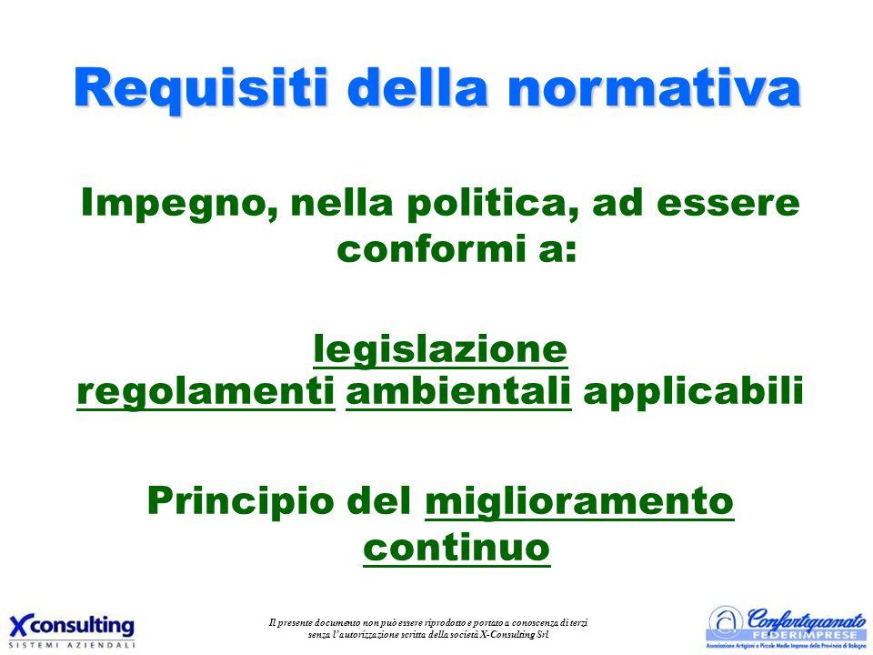 Requisiti della normativa Impegno, nella politica, ad essere conformi a: legislazione regolamenti ambientali applicabili Principio del miglioramento c