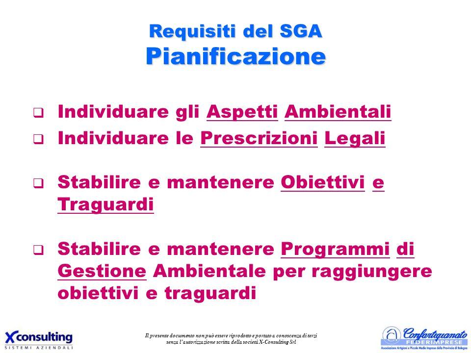 Requisiti del SGA Pianificazione q Individuare gli Aspetti Ambientali q Individuare le Prescrizioni Legali q Stabilire e mantenere Obiettivi e Traguar