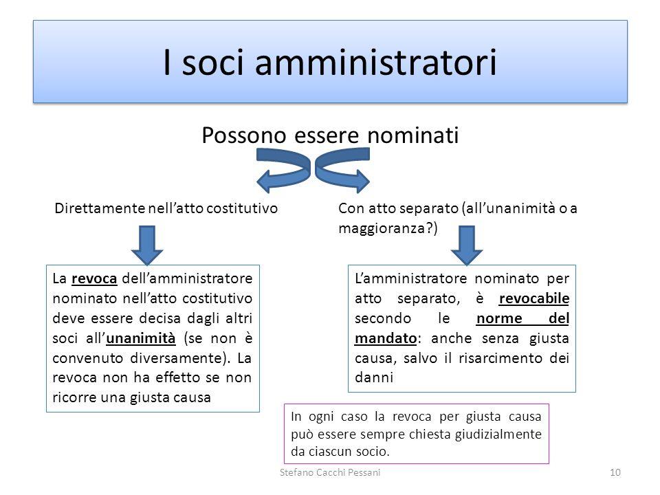 Possono essere nominati Stefano Cacchi Pessani10 I soci amministratori Direttamente nellatto costitutivoCon atto separato (allunanimità o a maggioranz