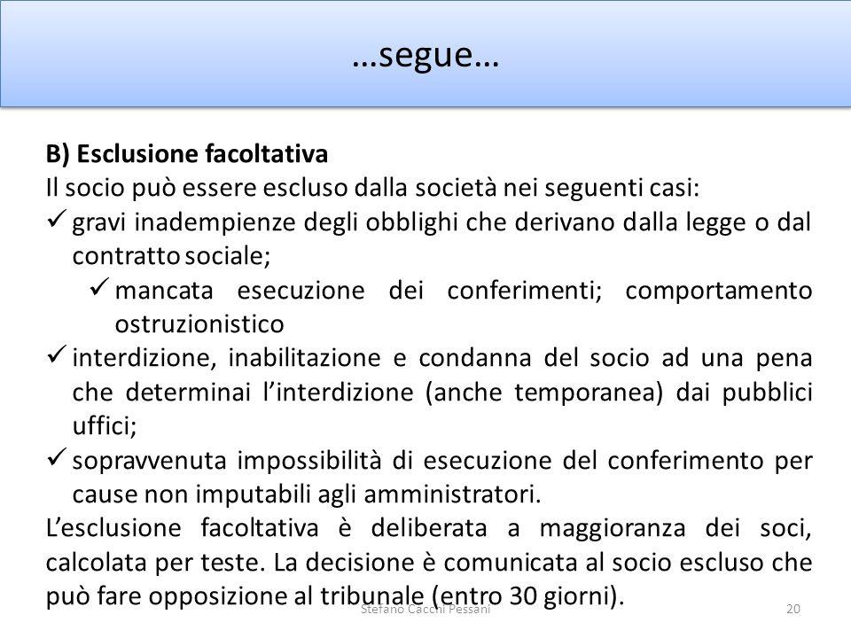 20 …segue… Stefano Cacchi Pessani B) Esclusione facoltativa Il socio può essere escluso dalla società nei seguenti casi: gravi inadempienze degli obbl