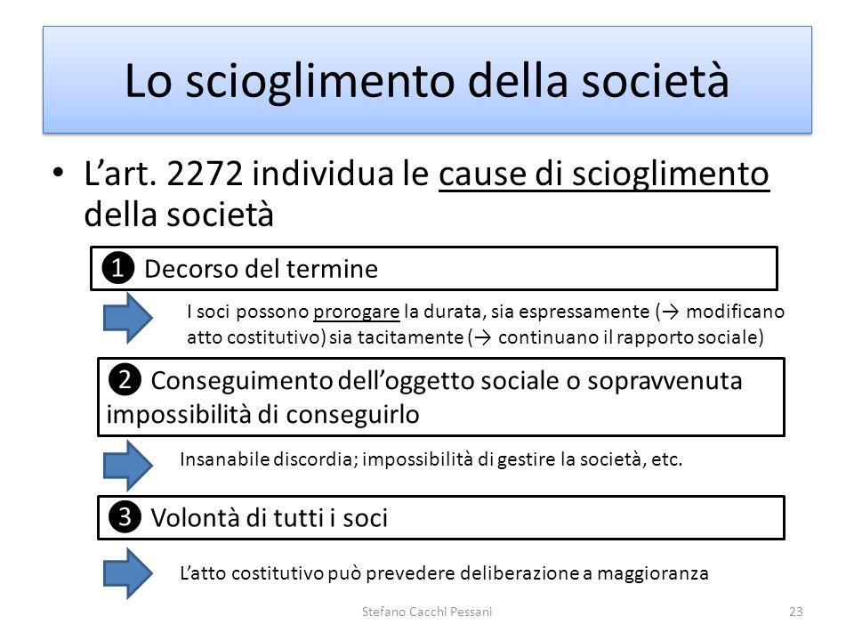 Lart. 2272 individua le cause di scioglimento della società Stefano Cacchi Pessani23 Lo scioglimento della società I soci possono prorogare la durata,