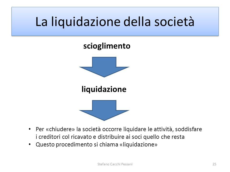 Stefano Cacchi Pessani25 La liquidazione della società scioglimento liquidazione Per «chiudere» la società occorre liquidare le attività, soddisfare i
