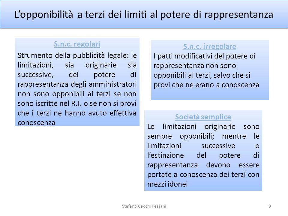 Lopponibilità a terzi dei limiti al potere di rappresentanza 9Stefano Cacchi Pessani S.n.c. regolari Strumento della pubblicità legale: le limitazioni