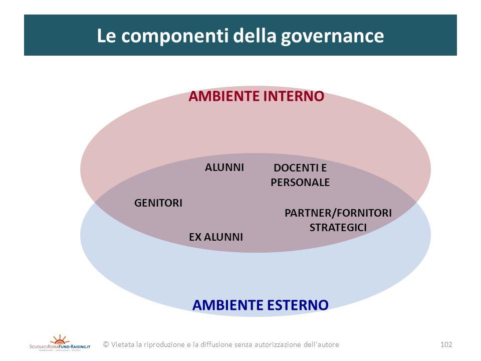 Le componenti della governance © Vietata la riproduzione e la diffusione senza autorizzazione dell'autore AMBIENTE INTERNO AMBIENTE ESTERNO 102 GENITO