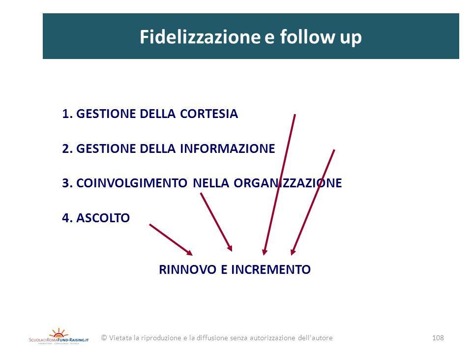 Fidelizzazione e follow up 1. GESTIONE DELLA CORTESIA 2. GESTIONE DELLA INFORMAZIONE 3. COINVOLGIMENTO NELLA ORGANIZZAZIONE 4. ASCOLTO RINNOVO E INCRE