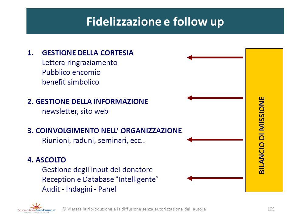 Fidelizzazione e follow up 1.GESTIONE DELLA CORTESIA Lettera ringraziamento Pubblico encomio benefit simbolico 2. GESTIONE DELLA INFORMAZIONE newslett