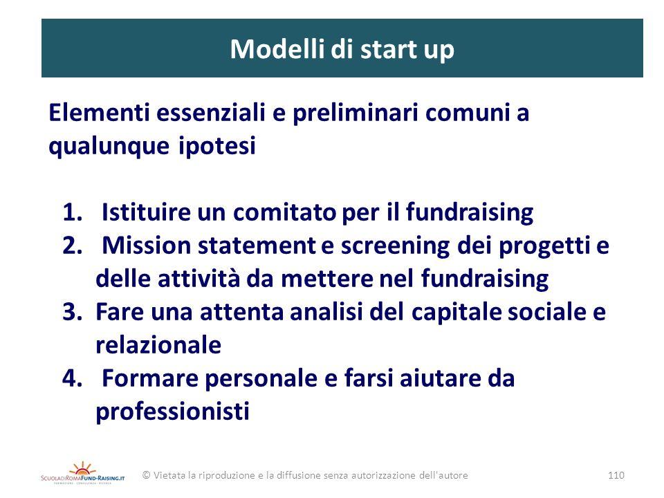 Modelli di start up Elementi essenziali e preliminari comuni a qualunque ipotesi 1. Istituire un comitato per il fundraising 2. Mission statement e sc