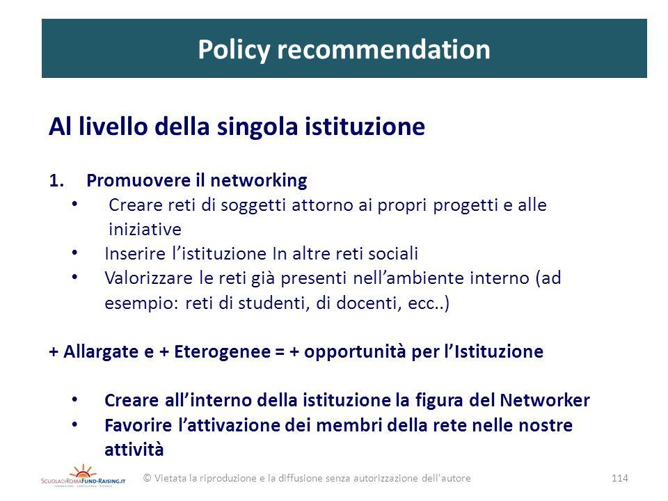 Policy recommendation Al livello della singola istituzione 1.Promuovere il networking Creare reti di soggetti attorno ai propri progetti e alle inizia