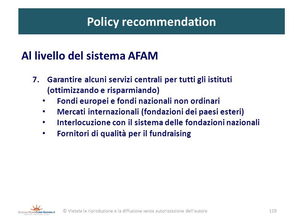 Policy recommendation Al livello del sistema AFAM 7.Garantire alcuni servizi centrali per tutti gli istituti (ottimizzando e risparmiando) Fondi europ