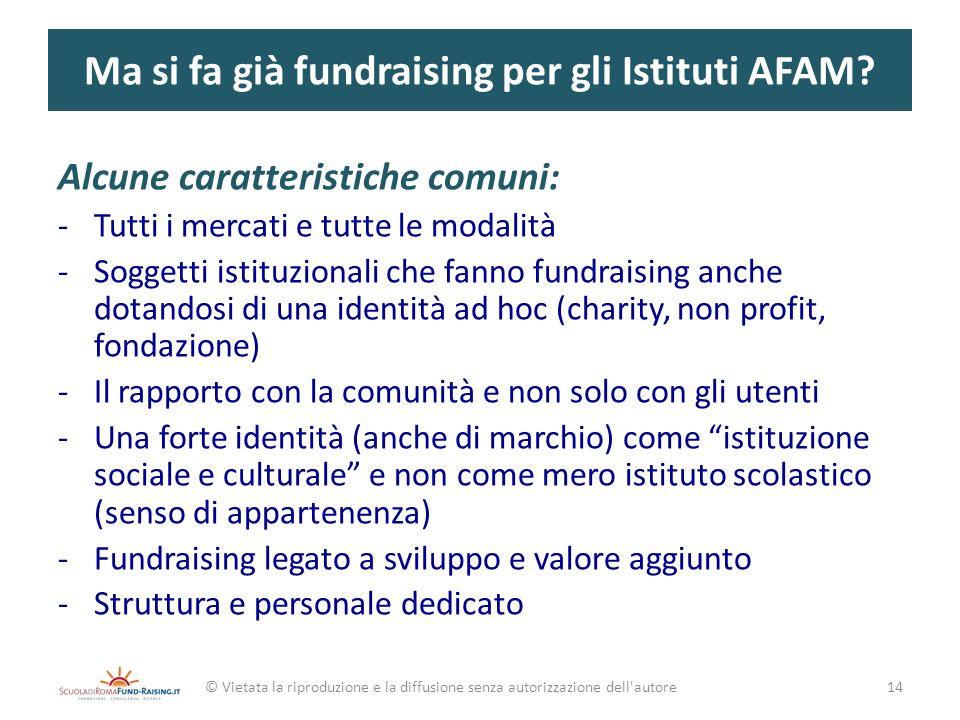 Ma si fa già fundraising per gli Istituti AFAM? Alcune caratteristiche comuni: -Tutti i mercati e tutte le modalità -Soggetti istituzionali che fanno