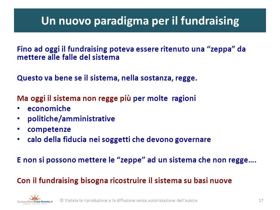 Un nuovo paradigma per il fundraising Fino ad oggi il fundraising poteva essere ritenuto una zeppa da mettere alle falle del sistema Questo va bene se