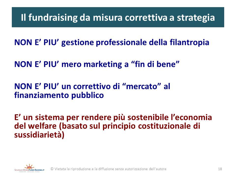 Il fundraising da misura correttiva a strategia NON E PIU gestione professionale della filantropia NON E PIU mero marketing a fin di bene NON E PIU un