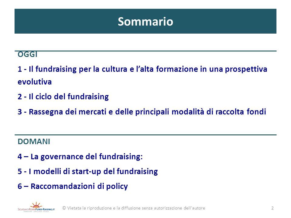 Sommario OGGI 1 - Il fundraising per la cultura e lalta formazione in una prospettiva evolutiva 2 - Il ciclo del fundraising 3 - Rassegna dei mercati