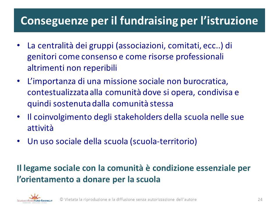 Conseguenze per il fundraising per listruzione La centralità dei gruppi (associazioni, comitati, ecc..) di genitori come consenso e come risorse profe