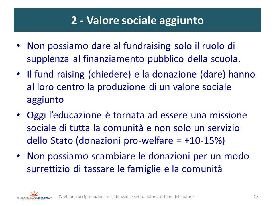 2 - Valore sociale aggiunto Non possiamo dare al fundraising solo il ruolo di supplenza al finanziamento pubblico della scuola. Il fund raising (chied