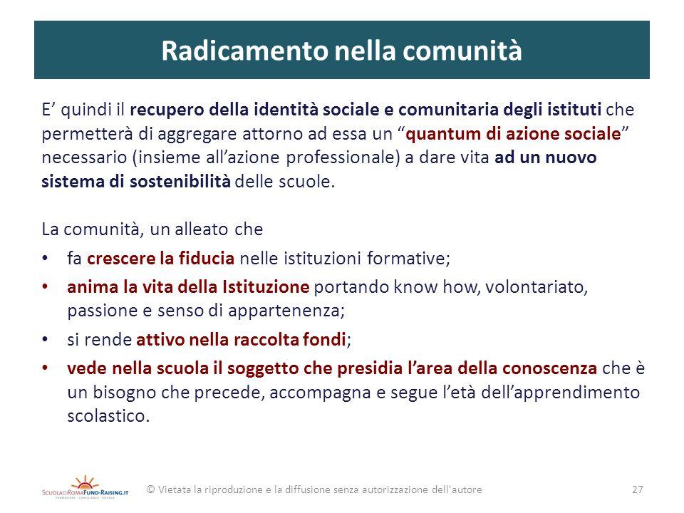 Radicamento nella comunità E quindi il recupero della identità sociale e comunitaria degli istituti che permetterà di aggregare attorno ad essa un qua