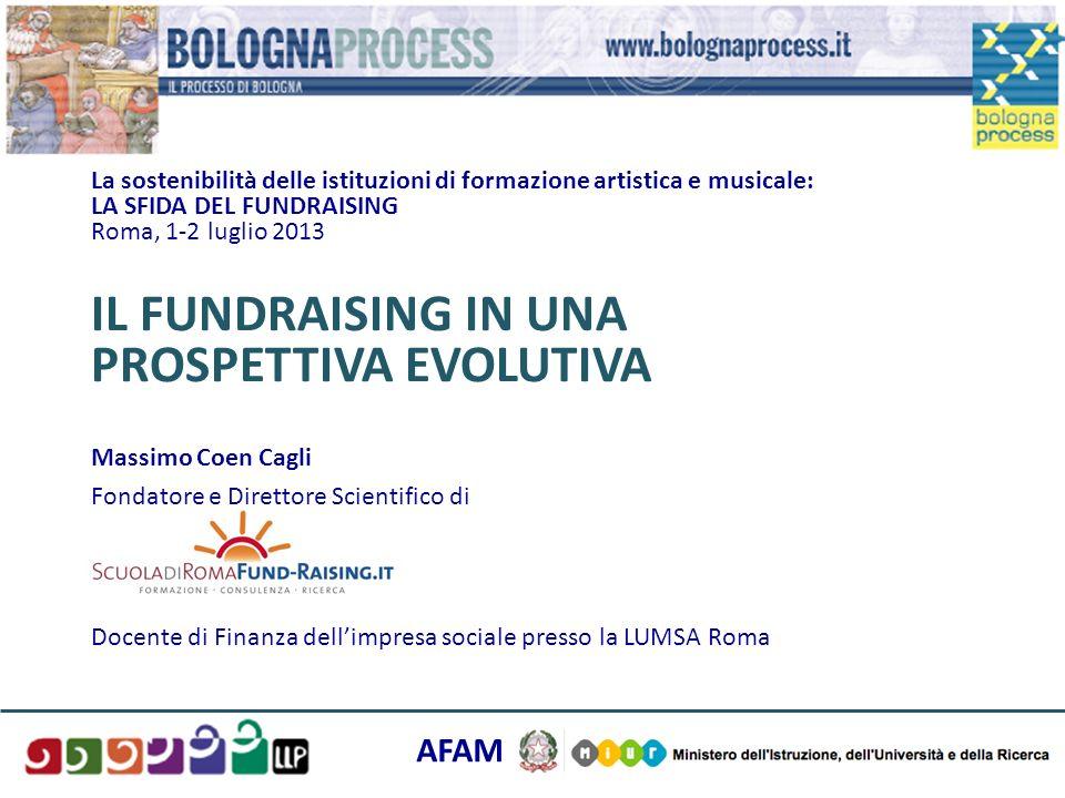 La sostenibilità delle istituzioni di formazione artistica e musicale: LA SFIDA DEL FUNDRAISING Roma, 1-2 luglio 2013 IL FUNDRAISING IN UNA PROSPETTIV