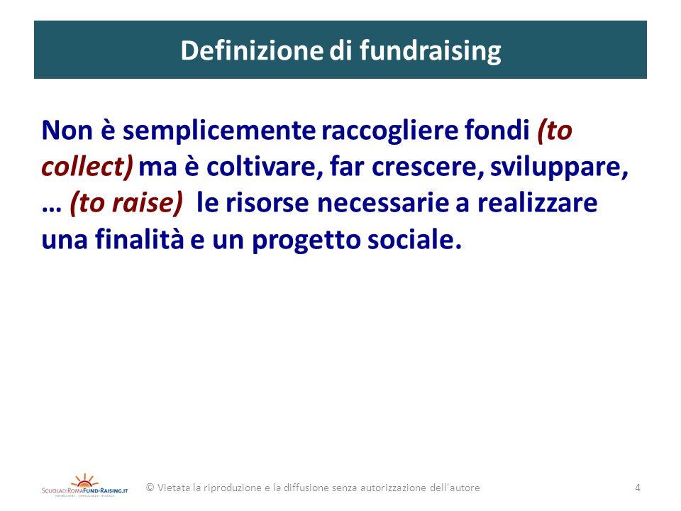 Definizione di fundraising Non è semplicemente raccogliere fondi (to collect) ma è coltivare, far crescere, sviluppare, … (to raise) le risorse necess