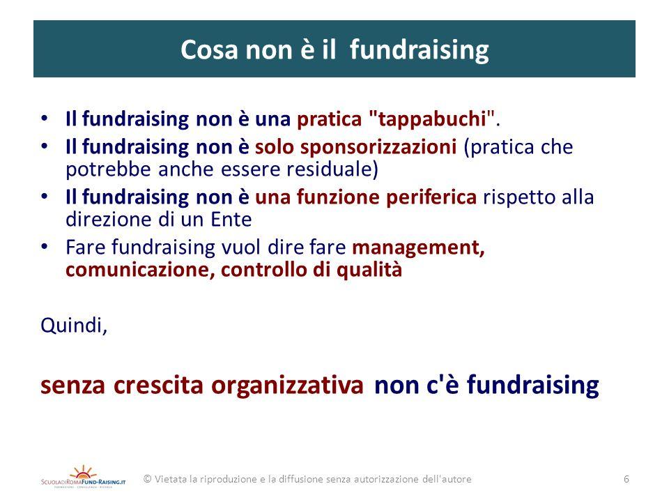 Il ciclo del fundraising © Vietata la riproduzione e la diffusione senza autorizzazione dell autore 2 3 4 5 6 7 ANALISI DELLA ORGANIZZAZIONE 1 AVVIO DEL FUNDRAISING (start up) ANALISI DELLAMBIENTE PROGETTAZIONE E PIANIFICAZIONE MESSA IN OPERA VALUTAZIONE E GESTIONE DEGLI ESITI REVISIONE DEL CICLO COSTRUIRE IL PROPRIO MODELLO DI FUNDRAISING 37