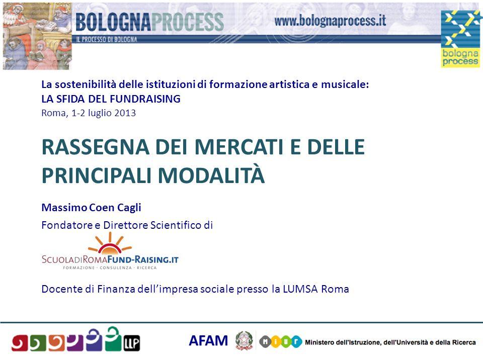La sostenibilità delle istituzioni di formazione artistica e musicale: LA SFIDA DEL FUNDRAISING Roma, 1-2 luglio 2013 RASSEGNA DEI MERCATI E DELLE PRI