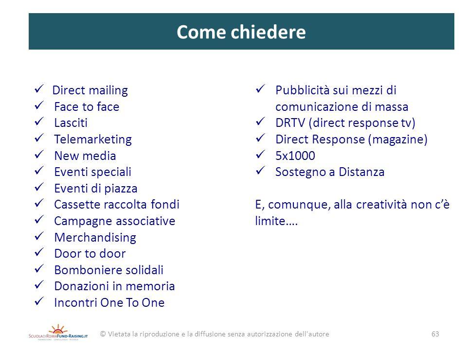 Come chiedere Direct mailing Face to face Lasciti Telemarketing New media Eventi speciali Eventi di piazza Cassette raccolta fondi Campagne associativ