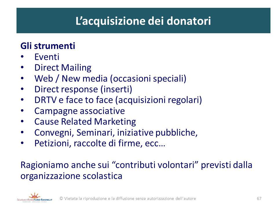 Lacquisizione dei donatori Gli strumenti Eventi Direct Mailing Web / New media (occasioni speciali) Direct response (inserti) DRTV e face to face (acq