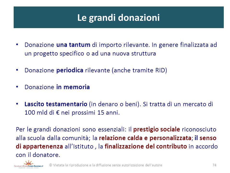 Le grandi donazioni Donazione una tantum di importo rilevante. In genere finalizzata ad un progetto specifico o ad una nuova struttura Donazione perio