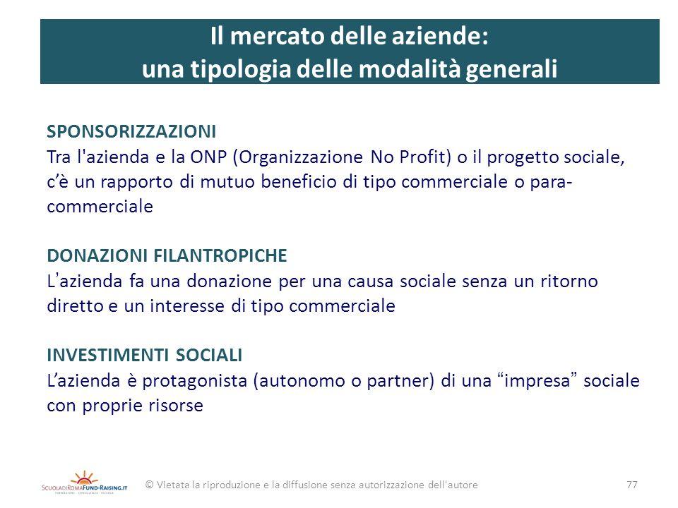 Il mercato delle aziende: una tipologia delle modalità generali SPONSORIZZAZIONI Tra l'azienda e la ONP (Organizzazione No Profit) o il progetto socia