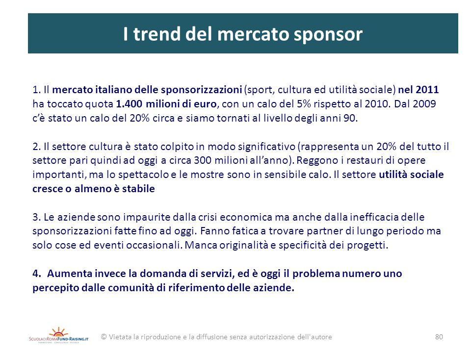 I trend del mercato sponsor 1. Il mercato italiano delle sponsorizzazioni (sport, cultura ed utilità sociale) nel 2011 ha toccato quota 1.400 milioni