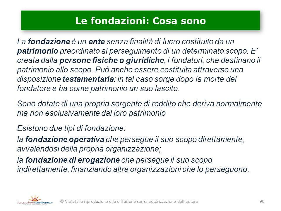 Le fondazioni: Cosa sono La fondazione è un ente senza finalità di lucro costituito da un patrimonio preordinato al perseguimento di un determinato sc