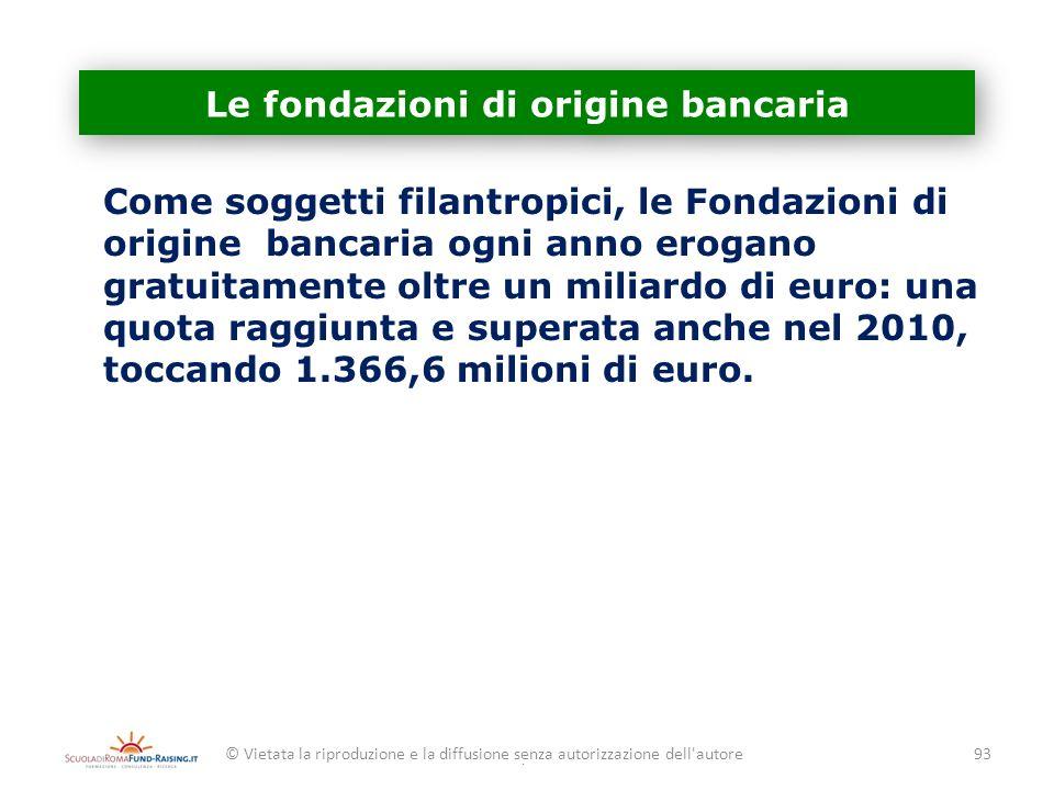 Le fondazioni di origine bancaria Come soggetti filantropici, le Fondazioni di origine bancaria ogni anno erogano gratuitamente oltre un miliardo di e