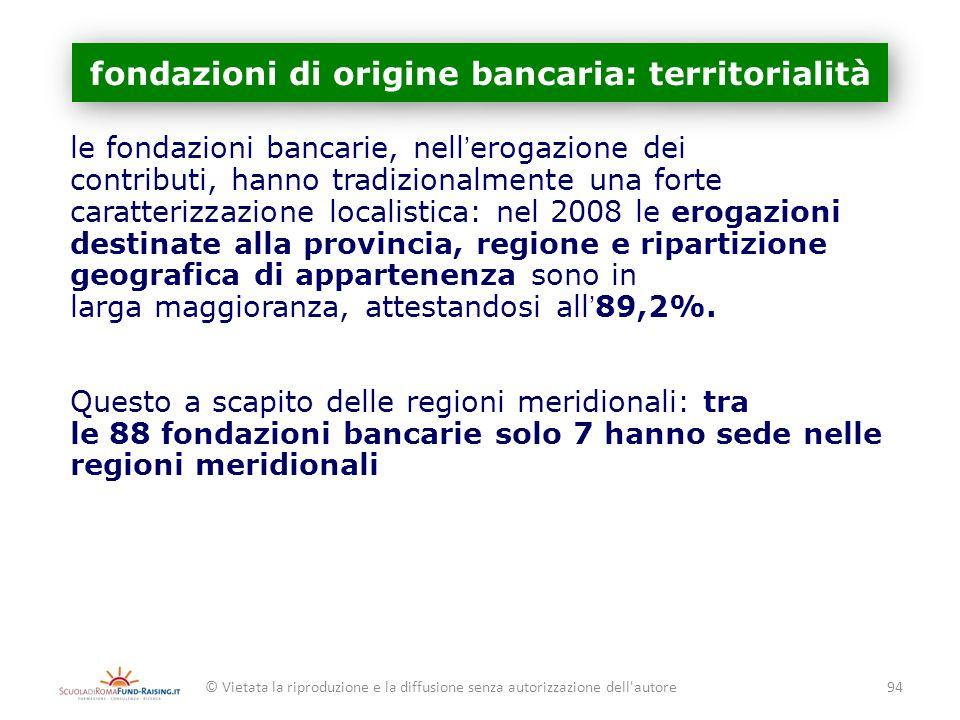 fondazioni di origine bancaria: territorialità le fondazioni bancarie, nellerogazione dei contributi, hanno tradizionalmente una forte caratterizzazio