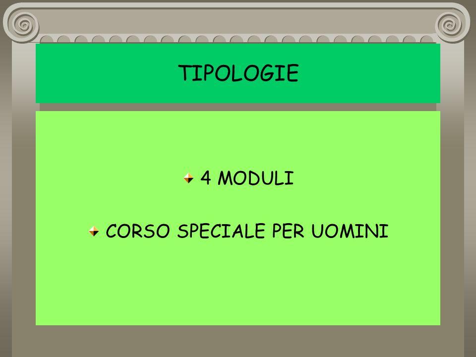 4 MODULI CORSO SPECIALE PER UOMINI TIPOLOGIE