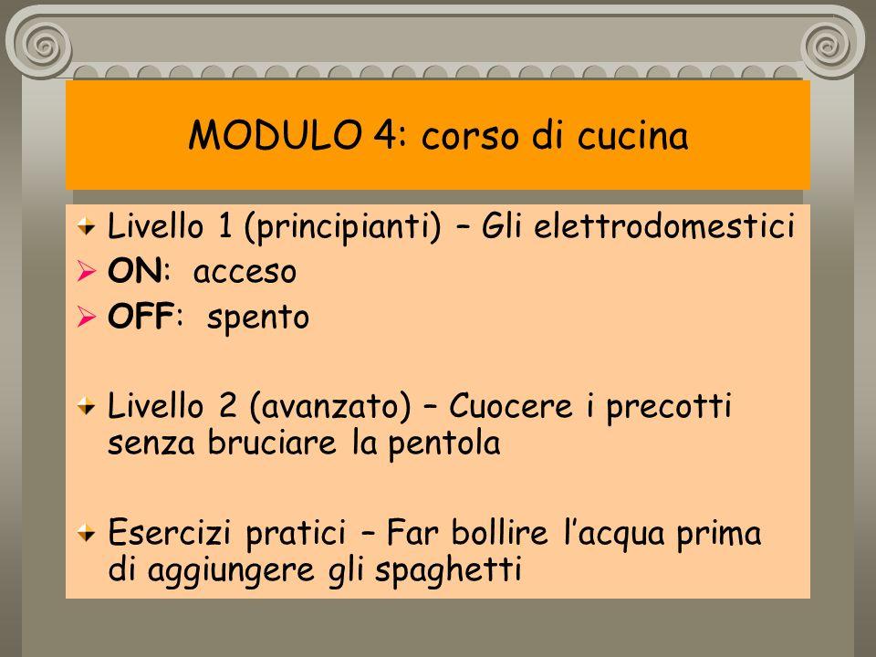 MODULO 4: corso di cucina Livello 1 (principianti) – Gli elettrodomestici ON: acceso OFF: spento Livello 2 (avanzato) – Cuocere i precotti senza bruciare la pentola Esercizi pratici – Far bollire lacqua prima di aggiungere gli spaghetti